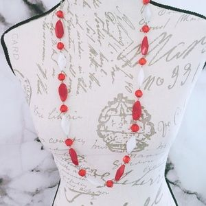 Red NWT Beaded Plastic Necklace
